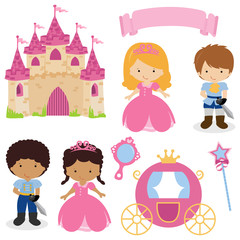 Cute princess and prince fairy tale