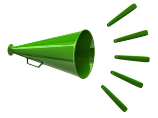 Illustration of green megaphone icon