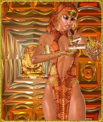 Snake charmer woman on abstract background