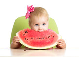 child girl eating watermelon