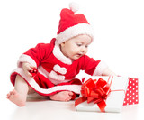 Santa Claus baby girl opening gift box isolated on white backgro