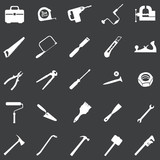 vector set of 25 white tool icons