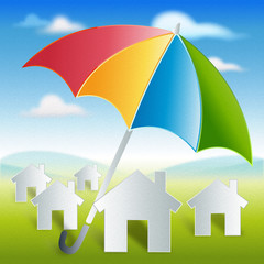 home-with-color-umbrella protection and security