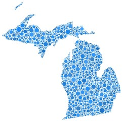 Map of Michigan - USA - in a mosaic of blue circles