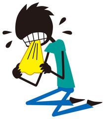 ハンカチを噛みながら泣く男性