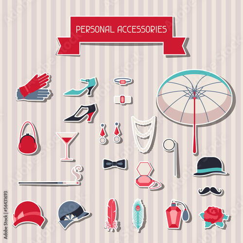 Retro personal accessories stickers of 1920s style.
