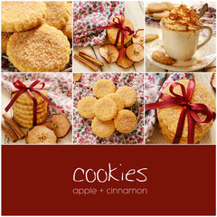 Apple cinnamon cookies collage with copyspace