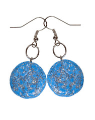 Earrings blue with sequins. galaxy
