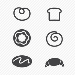Bread icons set isolated on white background