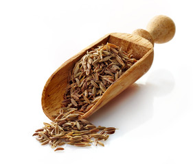 wooden scoop with cumin