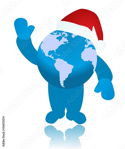 Santa globe raised one's hand for greeting