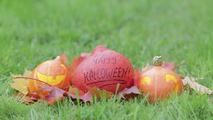 three Halloween pumpkins on green grass, horizontal