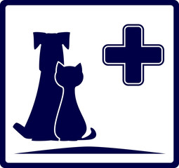 blue veterinarian banner with dog and cat silhouette