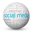 """SOCIAL MEDIA"" Tag Cloud Globe (information society networking)"