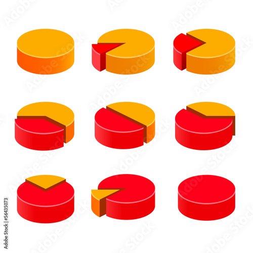 Colorful diagram pie set on the white background.