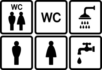 set of wc icons with shower and tap