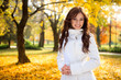 Beautiful girl in the autumn fall