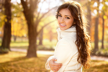 Beautiful portrait in autumn park