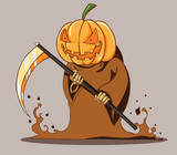 The Grim monster with scythe. pumpkin head