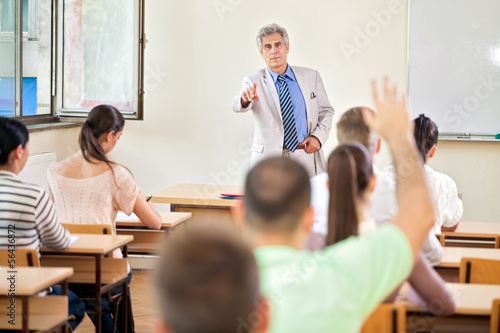 Student with hand up in class
