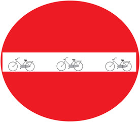 red sign with no bikes