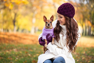 beautiful woman and his dog