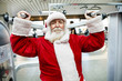 Santa Claus  doing exercise at gym