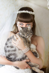 bride with a cat