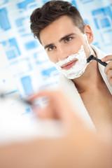 Shaving, morning routine.