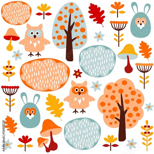 Cute seamless forest vector pattern with animals hare and owl