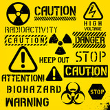 Set of warning hazard symbols and text