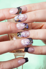 Beautiful flowery manicure
