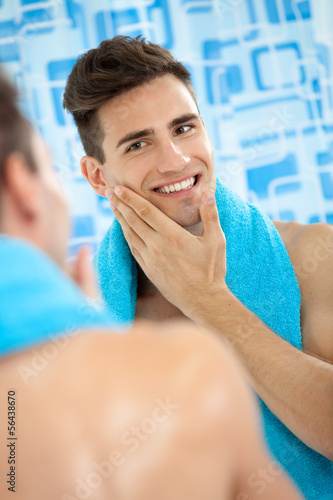 men touching his soft cheek