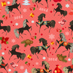 Festive seamless texture with horses