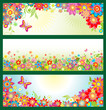 Banners with summer flowers