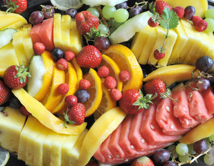Many fruits on a plate