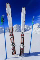Ski season , mountains and ski equipments