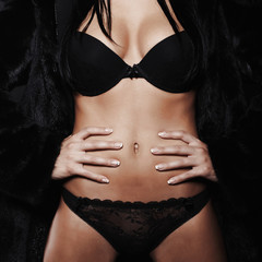 beautiful sexy woman in fur and black underwear.beauty girl