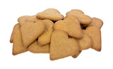 Heart shaped ginger snap cookies on a white background