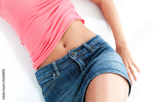 body part of young woman, .white background