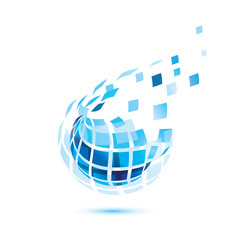 abstract globe icon, business and comunication concept