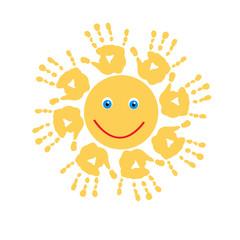 Joyful sun of handprints