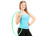 Young female athlete holding a hula-hoop