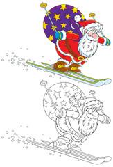 Santa skiing with Christmas gifts