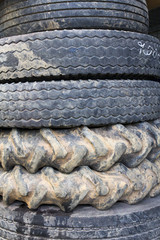 The old tires of truck and tractor