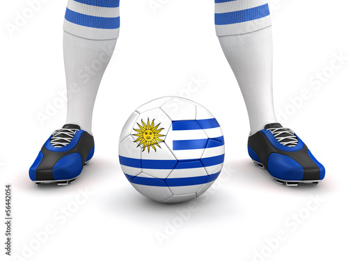 Man and soccer ball  with Uruguayan flag