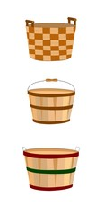 wooden baskets over white