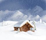 Fototapety Christmas winter landscape - hut, snow, pine, fir