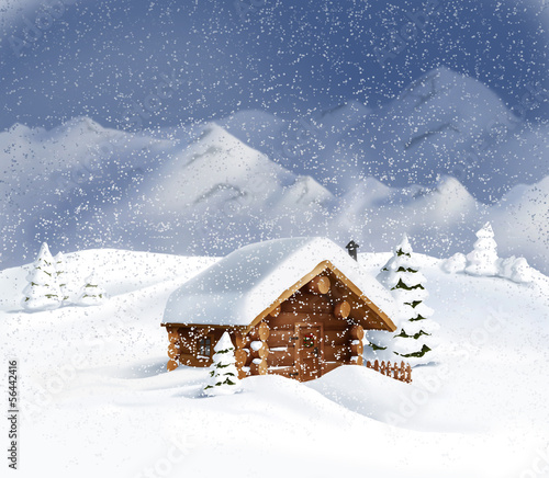 Christmas winter landscape - hut, snow, pine, fir