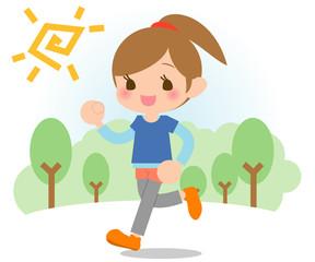 ジョギングする女の子